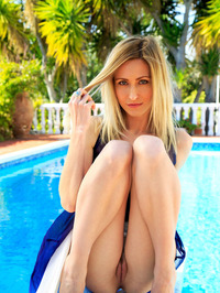 Sexy Blonde Babe Janelle B Is Hanging Out By The Pool 08