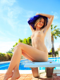 Sexy Blonde Babe Janelle B Is Hanging Out By The Pool 12